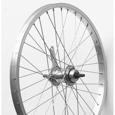 SNM-Favorit 20-as (406 mm) hátsó kerék, csavaros tengellyel, kontrafékes, 36H, ezüst színű