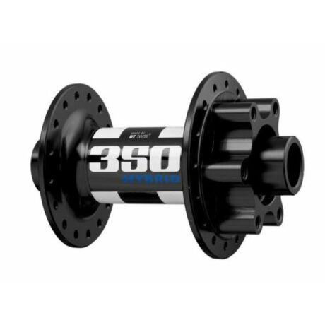 DT Swiss 350 Hybrid első agy, 36H, tárcsafékes (6 csavaros), átütőtengelyes (15 x 100 mm), fekete