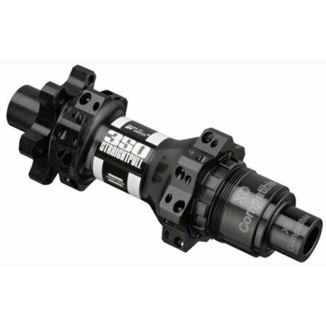 DT Swiss 350 Straightpull Boost hátsó kerékagy, 28H, tárcsafékes (6 csavaros), átütőtengelyes (12x148 mm), Sram XD kazettával, 250g, fekete
