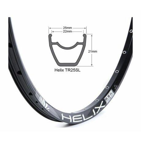 SUNringlé Helix TR25 MTB felni, 27,5 colos (584x25/21 mm), 28H, tárcsafékes, illesztett, TL-Ready, fekete
