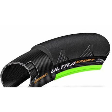 Continental Ultra Sport II 622-25 (700x25C) országúti külső gumi, Pure Grip Compound, 180TPI, 350g, fekete-zöld