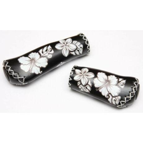 Velo ergonomikus bőr markolat, 95-135 mm, agyváltóhoz, virágmintás, fekete