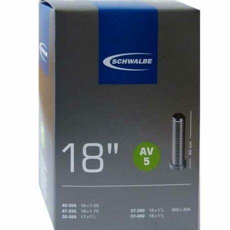 Schwalbe AV5 18 x 1,25-1,75 (32/40-355) belső gumi, AV40 (40 mm hosszú szeleppel, autós), 95g