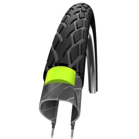 Schwalbe Marathon HS420 622-25 (700x25c) külső gumi, defektvédett (GreenGuard), reflexcsíkos 520g