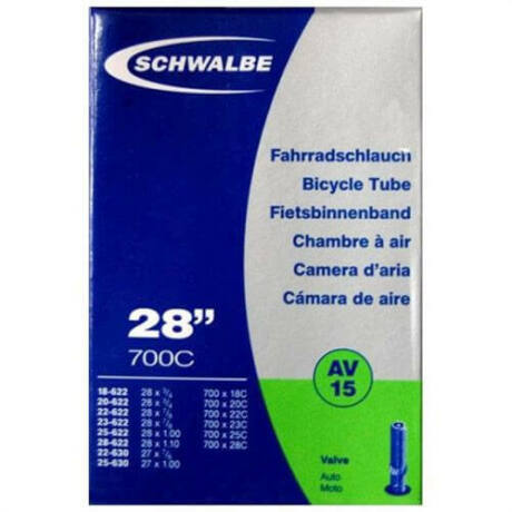 Schwalbe AV15 622 x 18/28 (18/28-622/630) 700C országúti belső gumi 40 mm hosszú szeleppel, 105 g, autós