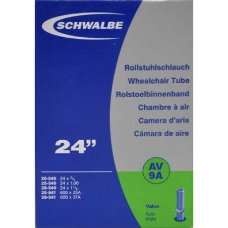 Schwalbe AV9A 24 x 1 1/4 (20/28-540/541) kerekesszék belső gumi 40 mm hosszú szeleppel, 95 g, autós