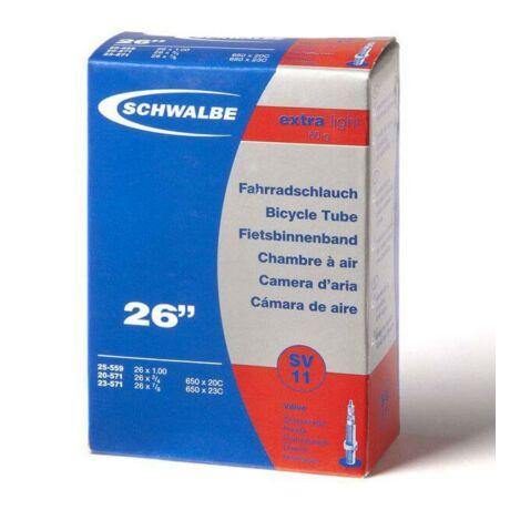 Schwalbe SV11 Extra Light 26 x 1,0 (20/25-559/571) MTB belső gumi 40 mm hosszú bontható szeleppel, 60 g, presta