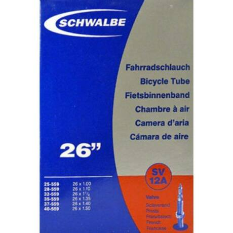 Schwalbe SV12A 26 x 1,0-1,5 (25/40-559) MTB belső gumi 40 mm hosszú bontható szeleppel, 120 g, presta