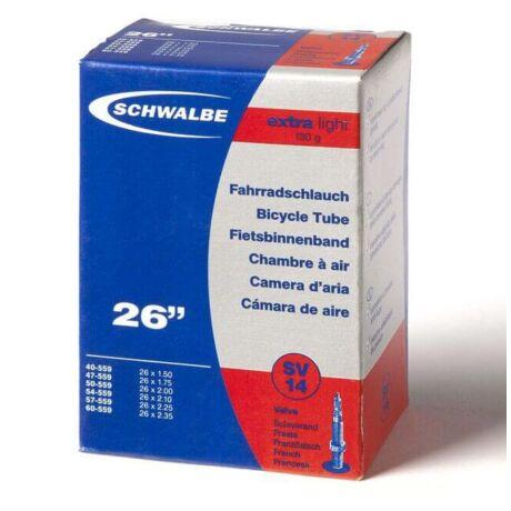 Schwalbe SV14 Extra Light 26 x 1,5-2,35 (40/60-559) MTB belső gumi 40 mm hosszú bontható szeleppel, 130 g, presta