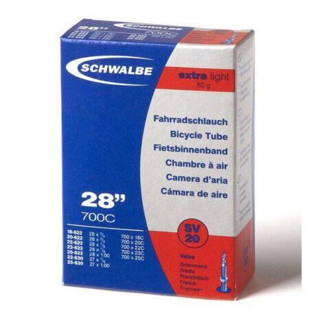Schwalbe SV20 Extra Light 622 x 18/25 (18/25-622/630) 700C országúti belső gumi 40 mm hosszú bontható szeleppel, 65 g, presta
