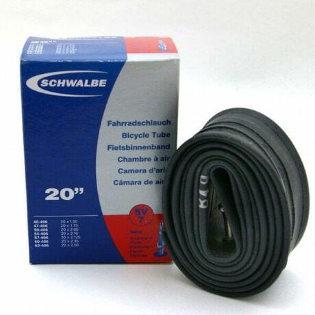 Schwalbe SV7 20 x 1,5-2,5 (40/62-406) BMX belső gumi 40 mm hosszú bontható szeleppel, 145 g, presta