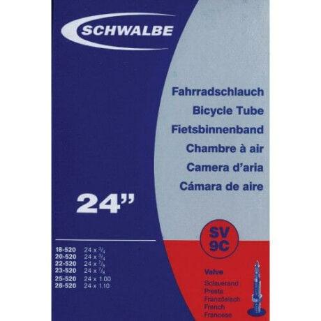 Schwalbe SV9C 24 x 0,75-1,1 (18/28-520) belső gumi 40 mm hosszú bontható szeleppel, 90 g, presta