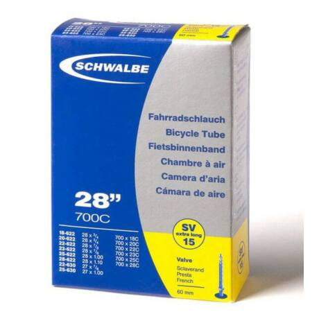 Schwalbe SVL15 622 x 18/25 (700c) országúti belső gumi 60 mm hosszú szeleppel, 105 g, presta