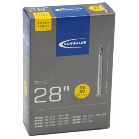 Schwalbe SVL20 622 x 18/25 Extra Light belső gumi 80 mm hosszú szeleppel 65 g, presta
