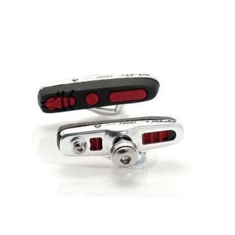 XLC BS-R04 cserélhető betétes menetes országúti fékpofa, 55 mm, két pár,  ezüst-fekete-piros