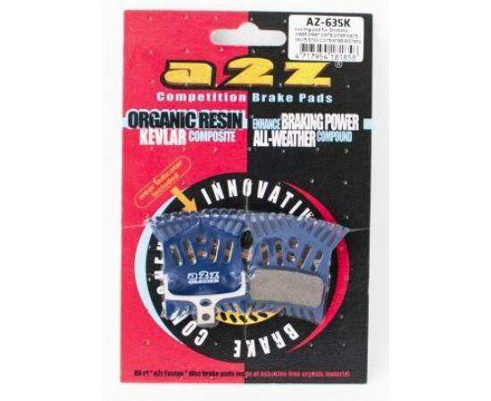 a2Z AZ-635K tárcsafék betét Shimano Deore, SLX, XT, XTR fékekhez, hűtőbordás, acél alap, organikus pofa