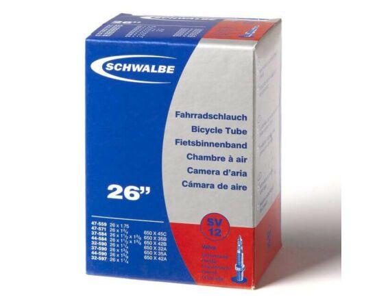 Schwalbe SV12 26 x 1,75 (30/47-559/597) MTB belső gumi 40 mm hosszú bontható szeleppel, 140 g, presta