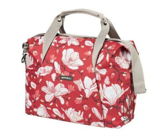 Basil Magnolia Carry All egy részes táska csomagtartóra, 18L, virágos, piros