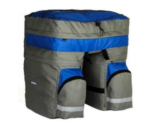 Roswheel három részes túratáska hátsó csomagtartóra, esőhuzattal, 60L, szürke-kék