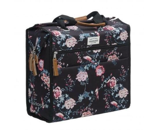 NewLooxs Lilly Ella egy részes táska csomagtartóra, 18L, virágos, fekete
