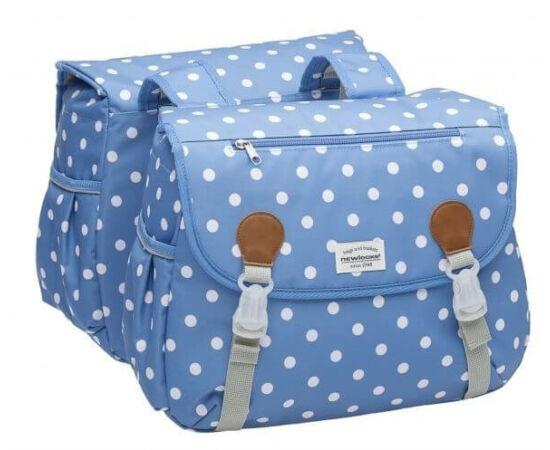 NewLooxs Joli Double Polka River Blue két részes táska csomagtartóra, 34L, pöttyös, világoskék