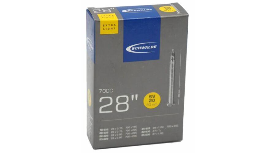 aacb5c467eb1 Schwalbe SVL20 622 x 18/25 Extra Light belső gumi 80 mm hosszú bontható  szeleppel 65 g, presta