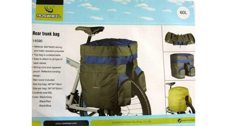 95b4723fde9f Roswheel három részes túratáska hátsó csomagtartóra, esőhuzattal, 60L,  fekete-piros